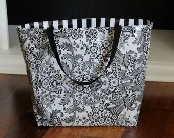 waterproof beach bag - oilcloth bag - monogrammed beach bag - reversible bag - oilcloth bag - gifts for her - teacher gifts