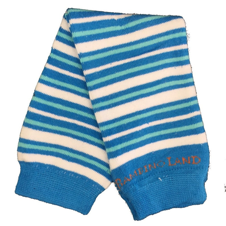 Organic Baby Leg Warmers Small Stripes Blue /& White