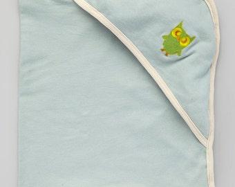 Hooded Bath Blanket - Slate blue w/ Oatmeal Trim with Owl embroidery