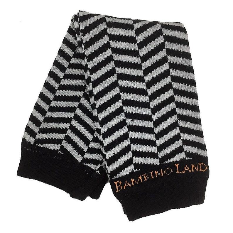 Organic Baby Leg Warmers Herringbone Black Gray