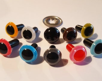 5 pairs 9 mm safety eyes solid colours