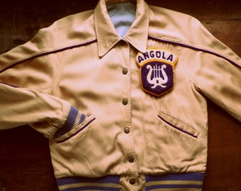 Vintage 1950s Angola High School Rayon Jacket, Indiana