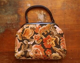 Vintage 1960s Autumn Floral Carpetbag Purse