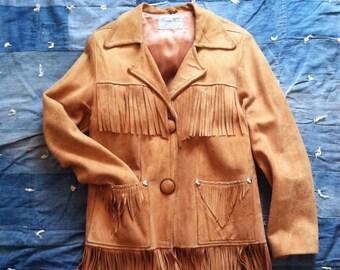 Vintage Western Suede Leather Fringe Jacket (S/M)