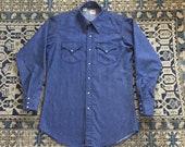Vintage 70s Lee Denim Western Pearl Snap Shirt, Sz 15 1 2