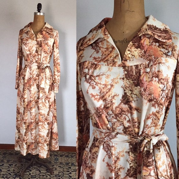 Vintage 1970s French Toile Countryside Print Maxi