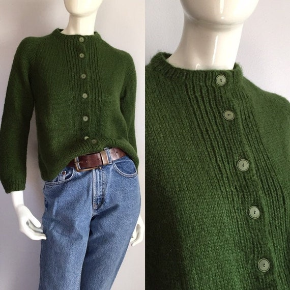 1950s Green Cardigan / Vintage 50s Evergreen Hand