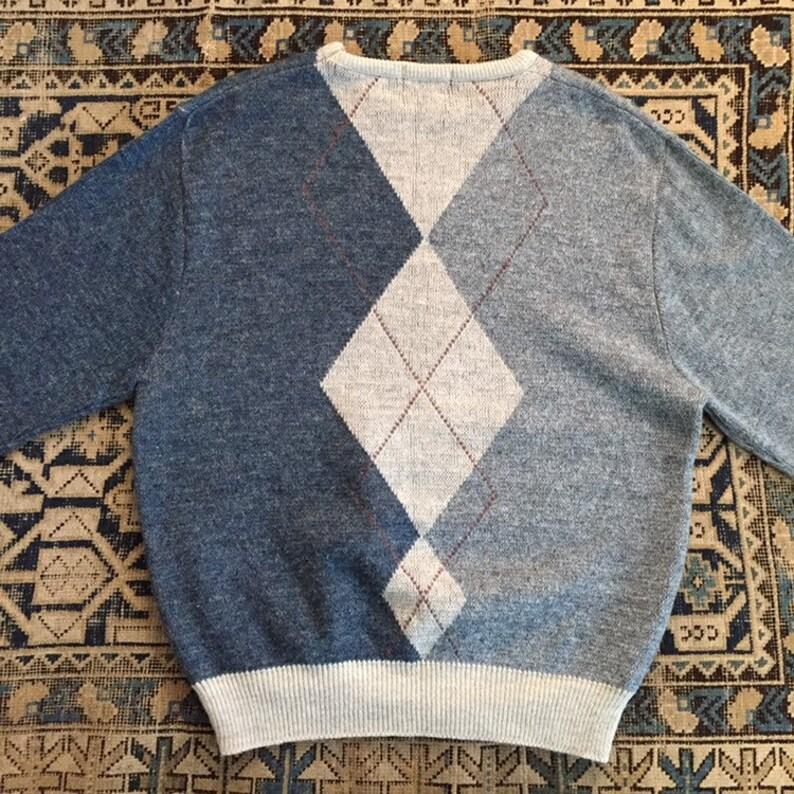 L Vintage Men/'s Indigo /& Chambray Blue Argyle Pullover Sweater