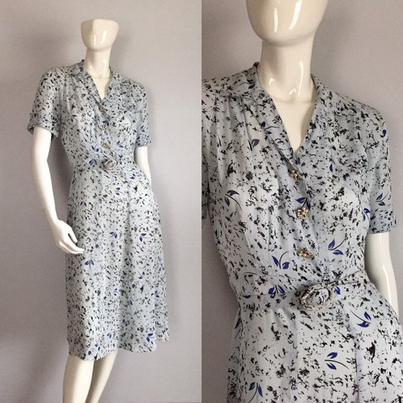 1940s Rayon Dress / Vintage 40s Light Blue Floral