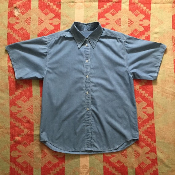 Vintage Women's Chambray Blue Short Sleeve Work Sh