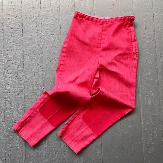 Vintage Girl's 1960s Red Denim Side Zip Pants / 60