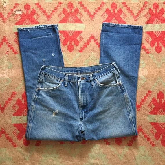Vintage 70s Wrangler Denim Bootcut Jeans, 1970s B… - image 1