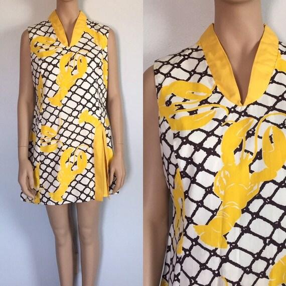 Vintage 1960's 1970's Lobster Print Culotte Dress