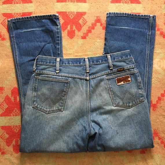Vintage 70s Wrangler Denim Bootcut Jeans, 1970s B… - image 2