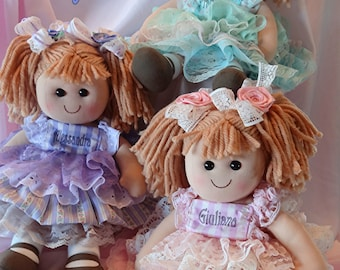 f3ee749380 Christmas Chanukah Personalized Baby Rag Doll dressed in vintage lace