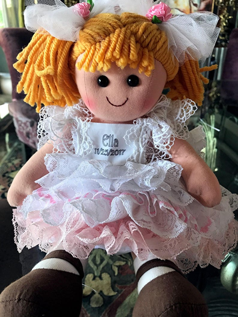 5b94e681d1 Personalized Rag doll dressed in vintage laces