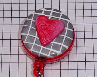 RED HEART - Polymer Clay Retractable Badge Holder