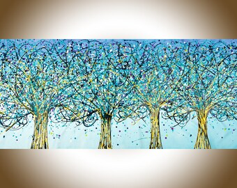 """3bd23e551 Jackson Pollock inspired 72"""" Drip Art Original artwork Abstract large wall art  painting on canvas tree painting - qiqigallery"""