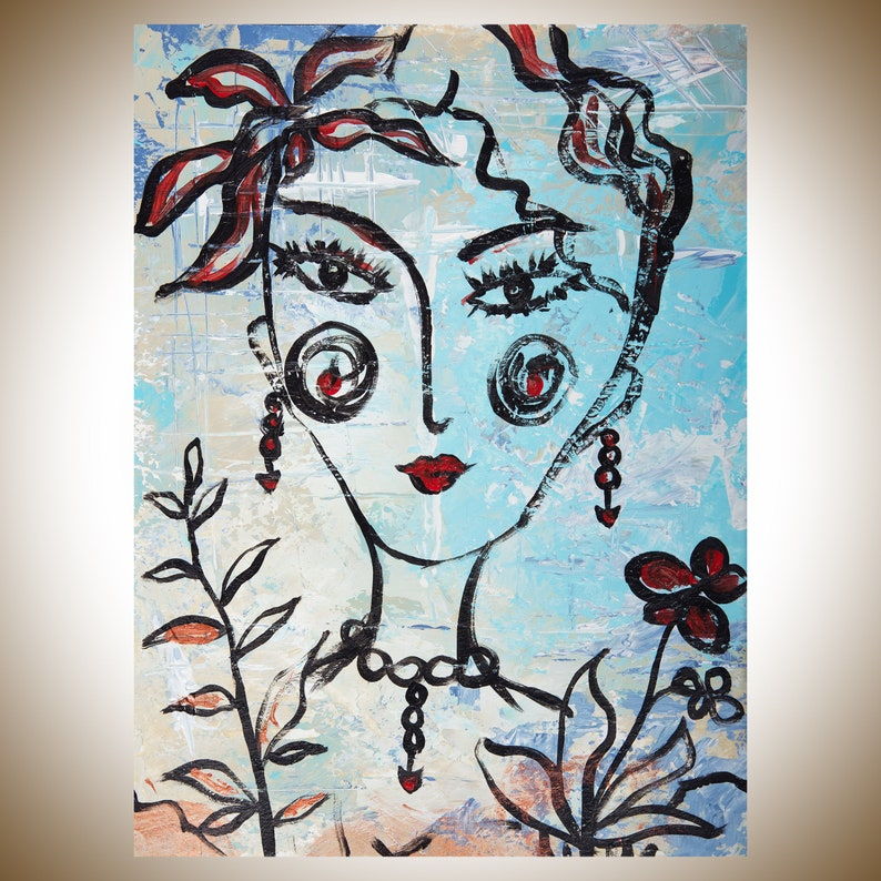 Woman Face Painting Original Art Painting On Paper Wall Art Etsy