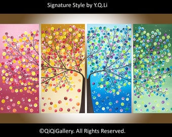 """Extra large wall art 72"""" Abstract Landscape four seasons Tree  home Office Wall Decor """"365 Days of Happiness"""" by qiqigallery - Made To Order"""