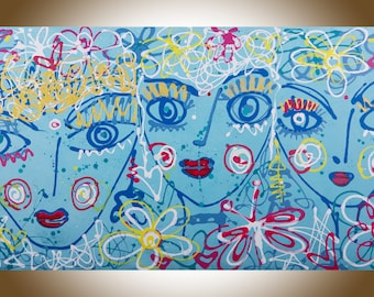 Original art original painting face painting canvas art unique art by YIQI, LI