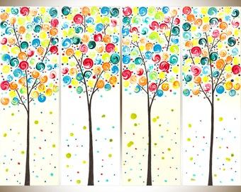 """Abstract painting on canvas Colorful art nursery art nursery wall art wall decor whimcical swirl leave tree """"Spring Blossoms"""" by qiqigallery"""