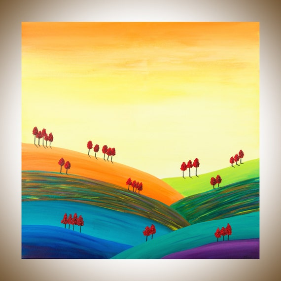 30 Large wall art landscape oil painting square art