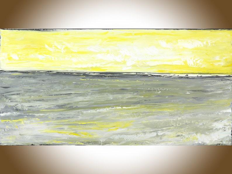Jaune Gris Abstrait Peinture Art Mural Grande Peinture Dart Etsy