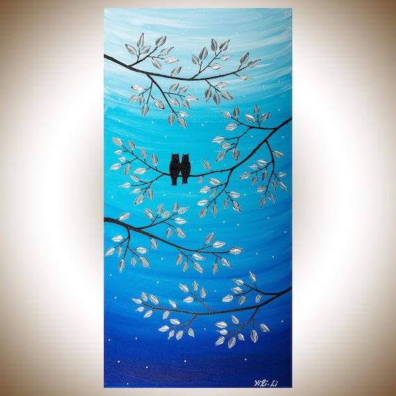 24 Owl Malerei Acryl Gemälde Geschenk Für Ihr Geschenk Für Paar Tier Wand Kunst Wand Dekor Leinwand Kunstsilber Moonlightvon Qiqigallery