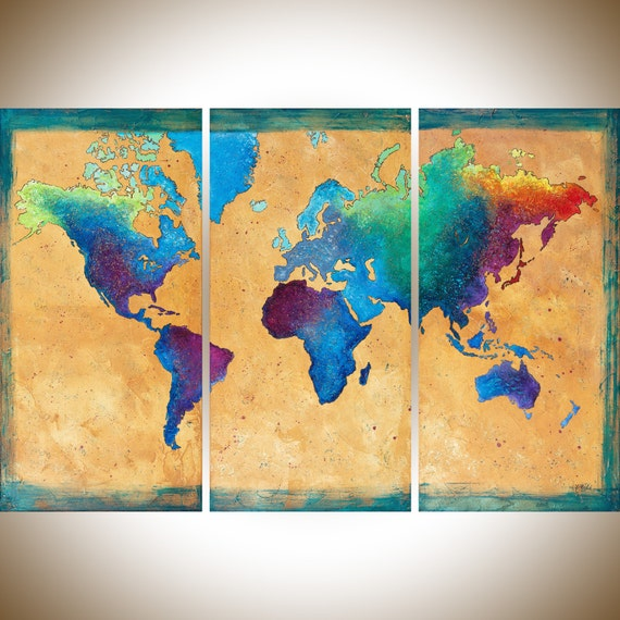 Map painting vintage world map set of 3 wall art hand painted etsy image 0 gumiabroncs Choice Image