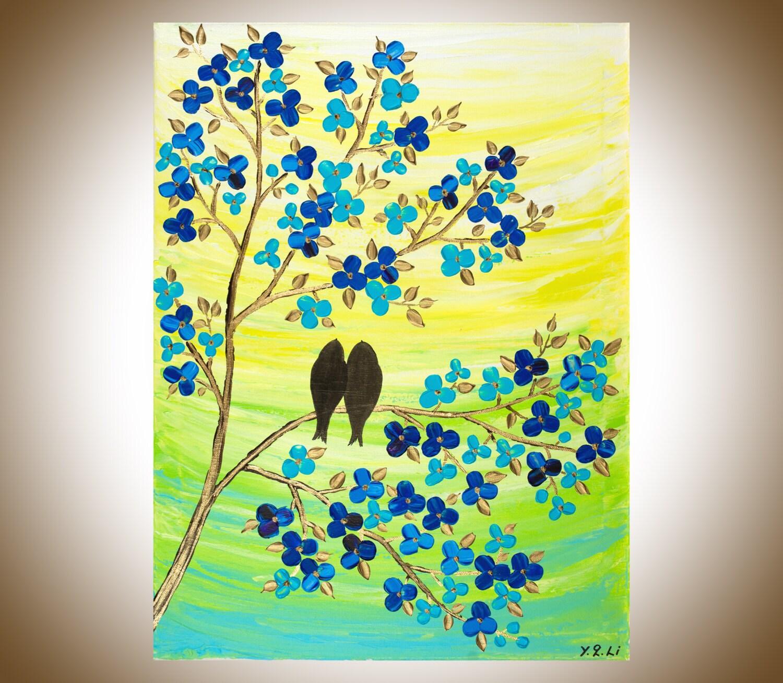 Lovebirds painting original birds art wall art wall decor   Etsy