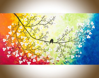 """Birds art love birds painting large canvas art red yellow orange blue green purple original artwork gift for her """"Colours of Love"""" by qiqi"""