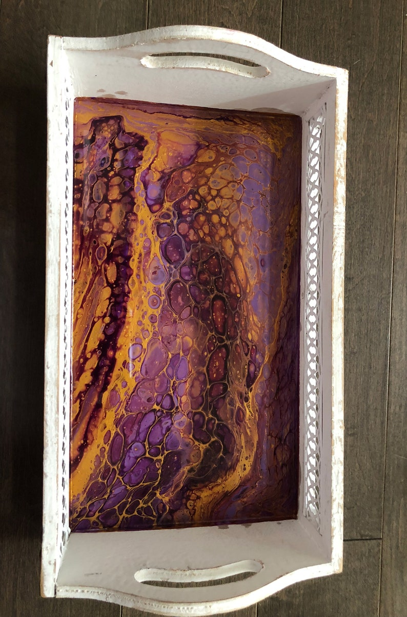 Serving Tray wood tray Purple and Gold Rasin art and Shabby chic by QIQIGallery