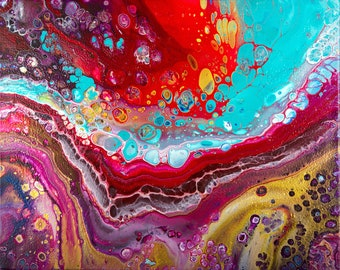 """Acrylic pour fluid art abstract painting original artwork gift for her """"Bohemian"""" by QIQIGallery"""