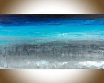 Abstract art Extra Large wall art original artwork canvas art wall art wall Decor wall hanging blue grey black by qiqigallery