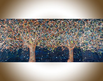 """SALE-72"""" Painting Jackson Pollock inspired Tree landscape painting by YIQI LI"""
