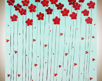 """Red flowers art turquoise red original artwork square art large canvas art wall decor wall art gift for her """"Delightful"""" by qiqigallery"""