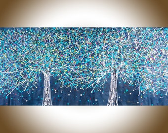 """72"""" Painting Jackson Pollock inspired Tree landscape painting by YIQI LI"""