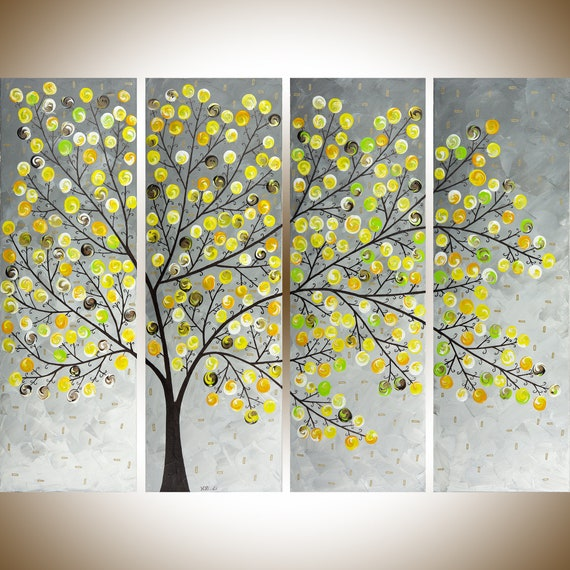 Yellow Grey Painting Large Wall Art Modern Art Impasto Canvas Art Original Artwork Weeping Willow By Qiqigallery