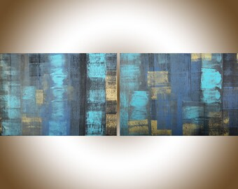 """Large abstract painting 72""""wall art Abstract art original artwork painting on canvas turquoise blue grey gold """"Urban Life""""by qiqigallery"""