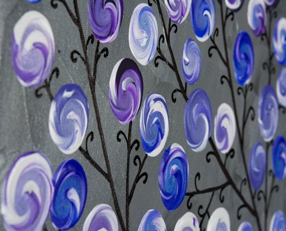 Mauve Violet Gris Mur Art Art Abstrait Peinture Originale Sur Toile Whimcial Tourbillon Laisser Arbre Toile Art Par Qiqigallery