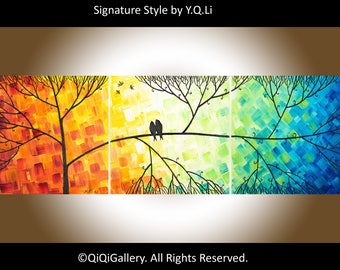 """Rainbow Colour love birds art canvas art wall decor gift for couple anniversary wedding gift""""Love and Romance"""" by qiqigallery"""