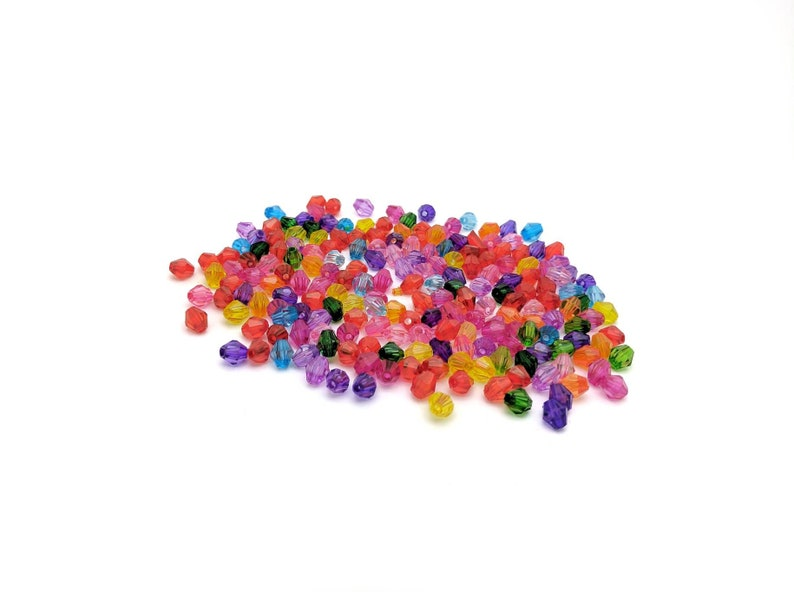 Destash in bulk Bright 100 pcs 6mm colorful mix of acrylic bicone beads for jewelry making lightweight faceted mixed spacer beads.