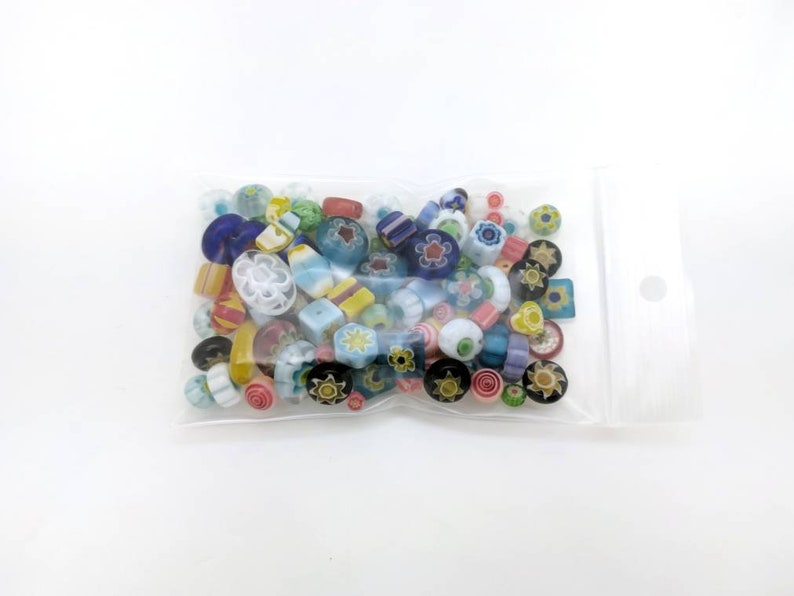 Colorful loose lampwork beads 40 grams Mixed millefiori glass beads for jewelry making /& DIY crafts Bead soup drilled destash in bulk.