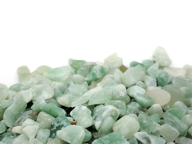 Undrilled green aventurine gemstone chips in bulk for jewelry making DIY crafts and gifts Raw natural stone mini embellishments. 50 grams