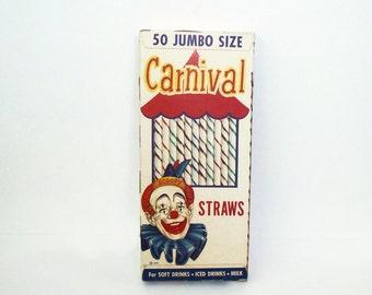 NOS Carnival 50 Jumbo Straws 1950s National Soda Straw Co. Chicago Ill.