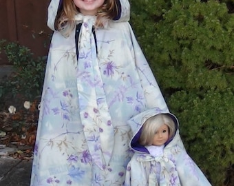 GIRLS HOODED CAPE Pattern Sizes 2 to 6