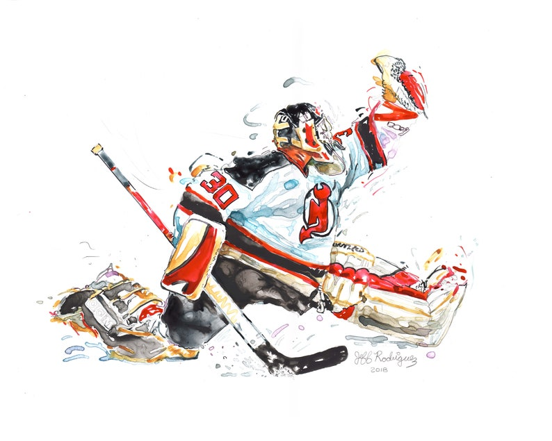 new style 080a0 1234d Watercolor portrait painting of New Jersey Devils Hockey player Martin  Brodeur - giclee from original