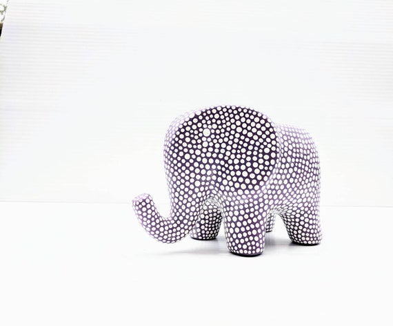 Elephant succulent planter: hand painted ceramic elephant planter purple and white dots