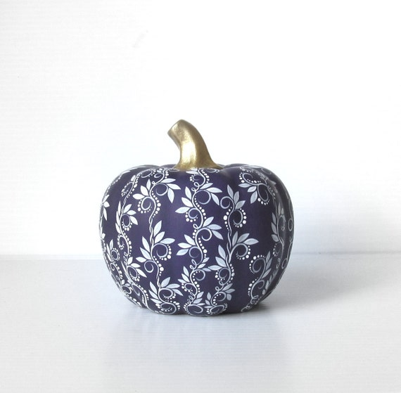 Pumpkin Hand painted Dark Purple and White ceramic pumpkin Purple Pumpkin